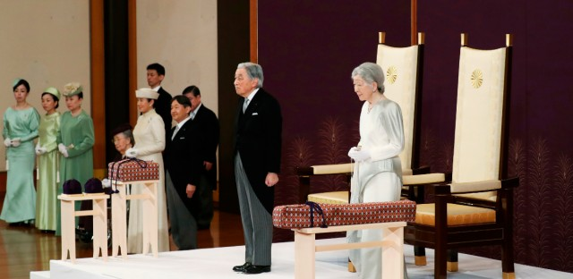 Japan's Emperor Akihito, second from right, accompanied by Empress Michiko, attends the ceremony of his abdication in front of other members of the royal families and top government officials at the Imperial Palace in Tokyo, Tuesday, April 30, 2019. The 85-year-old Akihito ends his three-decade reign on Tuesday as his son Crown Prince Naruhito will ascend the Chrysanthemum throne on Wednesday