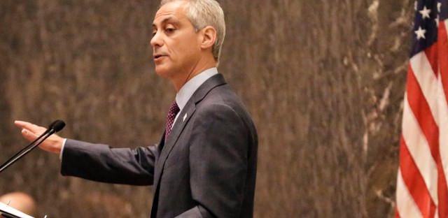 Chicago Mayor Rahm Emanuel outlines his 2016 proposed budget before the City Council in September 2015. The budget plan included a massive property tax hike and other fees to help close a shortfall and improve the city's underfunded pension system, votes many aldermen called the most difficult of their political careers.