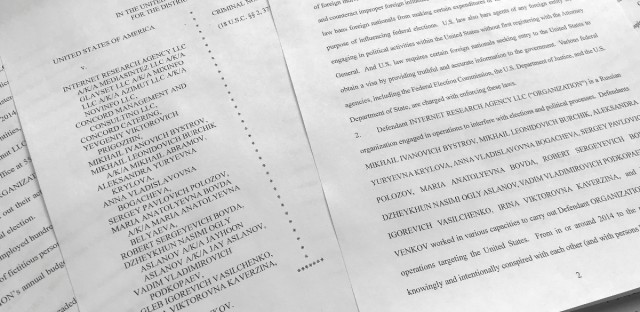 A portion of the Feb. 16 indictment against Russia's Internet Research Agency is photographed in Washington on March 15, 2018.