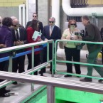 Illinois U.S. Sen. Dick Durbin dons sunglasses at the ribbon cutting for the new ultraviolet light disinfection facility at the O'Brien Water Reclamation plant in Skokie.