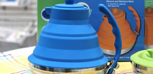 Better Housewares collapsible silicone and stainless steel tea kettle at International Home   Housewares Show 2013 in Chicago
