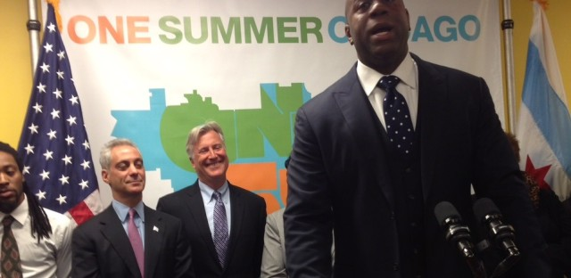 Earvin 'Magic' Johnson praises Mayor Rahm Emanuel at a press conference in February.