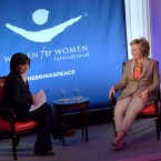Journalist Christiane Amanpour, left, and former Democratic presidential nominee Hillary Clinton