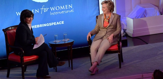 Journalist Christiane Amanpour, left, and former Democratic presidential nominee Hillary Clinton speak during The Women For Women International's Luncheon on Tuesday. (Ben Gabbe/Getty Images)