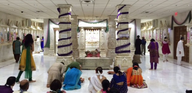 Members of the Jain community in greater Chicago take part in a sacred pageant to celebrate the birth of a great teacher, Lord Mahavir, 2,600 years ago.