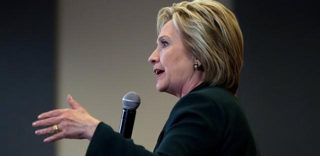 Democratic presidential candidate Hillary Clinton speaks at a Las Vegas high school last Friday.