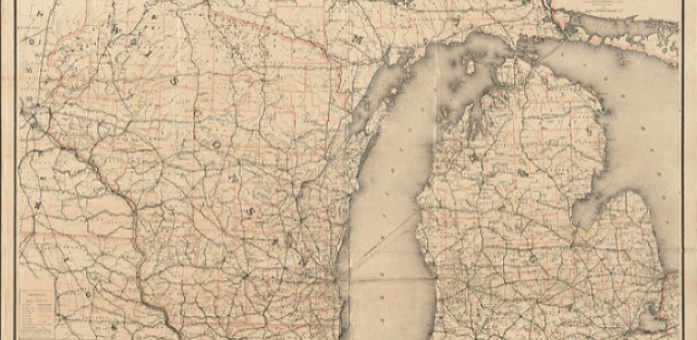 A map of Michigan and Wisconsin