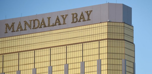 Jesus Campos, the hotel security guard who was shot the night that Stephen Paddock killed 58 people, gave his first media interview to Ellen DeGeneres. The shooter fired from windows he broke in a suite at the Mandalay Bay, pictured on Oct. 2, the day after the massacre.