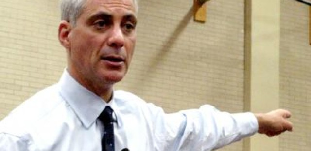 Chicago Mayor Rahm Emanuel addresses a crowd of 700 at Malcolm X College on Wednesday night.