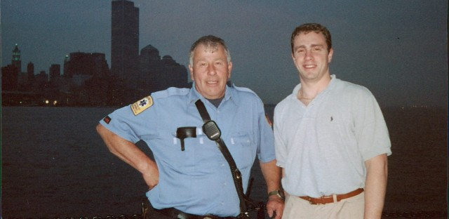 Crowther stands with Harry Wanaker, a lieutenant in the Nyack Fire Department. (Courtesy The Crowther Family)