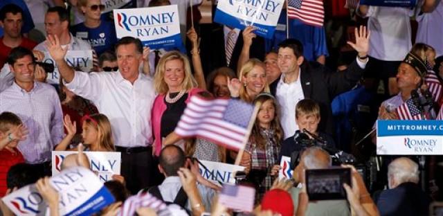 Mitt Romney with running mate Paul Ryan