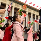 Children participate in a welcome ceremony for President Donald Trump and Chinese President Xi Jinping at the Great Hall of the People, Thursday, Nov. 9, 2017, in Beijing, China.