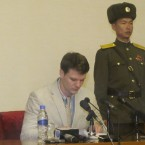 Otto Frederick Warmbier, a 21-year-old American student, speaks during a news conference in Pyongyang on Feb. 29. Xinhua News Agency/Getty Images
