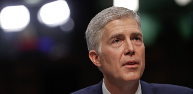 Supreme Court nominee Neil Gorsuch, speaks on Capitol Hill in Washington, Monday, March 20, 2017, during his confirmation hearing before the Senate Judiciary Committee. (AP Photo/Pablo Martinez Monsivais)
