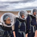 Crew members on one of the simulated Mars missions this spring included Pitchayapa Jingjit (from left), Becky Parker, Elijah Espinoza and Esteban Ramirez. Community college students and teachers in real life, the team members spent a week in the Utah desert, partly to experience the isolation and challenges of a real trip to Mars.