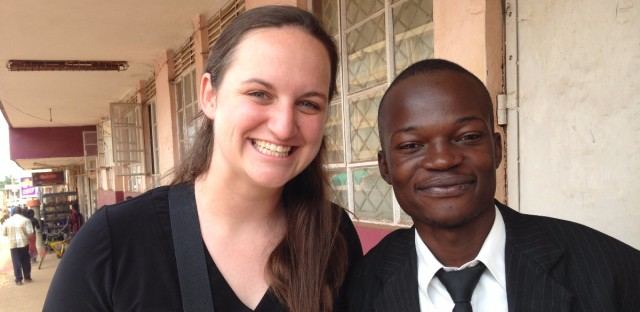 Molly MacCready, CROSO's Founder and Executive Director, with one of CROSO's current scholars, Shibolo Awali. Awali is in his final year of a bachelor of law program at Islamic University in Uganda. Photo by Sally Ryan.