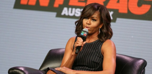 First Lady Michelle Obama speaks at a panel discussion during South By Southwest at the Austin Convention Center on Wednesday, March 16, 2016, in Austin, Texas.