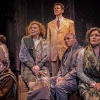Joseph Hollander (Sean Fortunato, standing at center) feels worlds apart from his family trapped in occupied Poland during WWII. From far left to right: Dola (Patricia Lavery), Lusia (Mikey Gray), Genka (Brennan Stacker), Berta (Glynis Bell), Salo (Ron Rains) and Mania (Amy J. Carle) in Chicago Shakespeare Theater's world premiere production of The Book of Joseph, a new play written by Karen Hartman and directed by Barbara Gaines, in the theater Upstairs at Chicago Shakespeare, now through March 5, 2017.