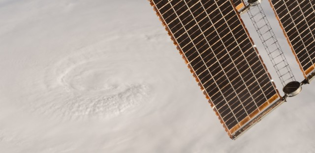 A photo taken Tuesday shows Hurricane Matthew as seen from the International Space Station.