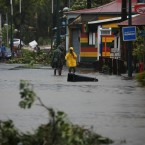 Hurricane Maria has already left the streets flooded in Pointe-à-Pitre, Guadeloupe, on Tuesday.