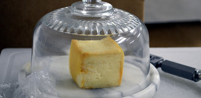 Limburger cheese under cloche at Chalet Cheese Co-op in Monroe, Wis.