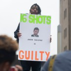 Rena Shepherd demonstrates outside the courthouse where Chicago Police Officer Jason Van Dyke was found guilty on second-degree murder charges.