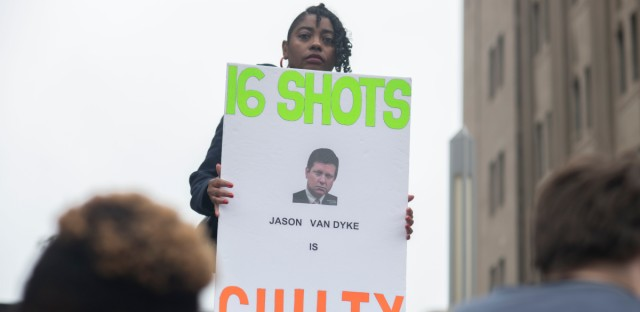 Rena Shepherd demonstrates outside the courthouse where Chicago Police Officer Jason Van Dyke was found guilty on second-degree murder charges. (Marc Monaghan/for WBEZ)