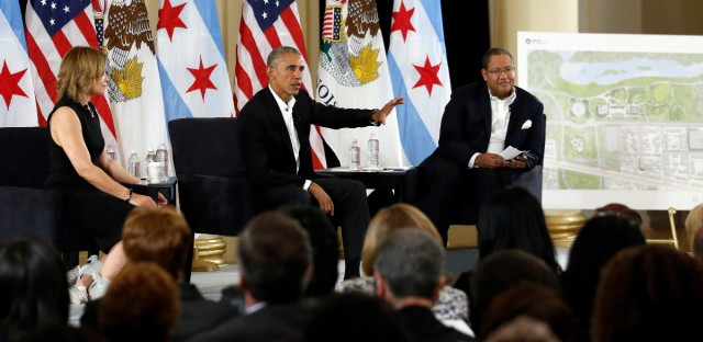 Former President Barack Obama speaks at a community event on the Obama Presidential Center at the South Shore Cultural Center, Wednesday, May 3, 2017, in Chicago. The Obama Foundation unveiled plans for the former president's lakefront presidential center, showcasing renderings and a model at an event.