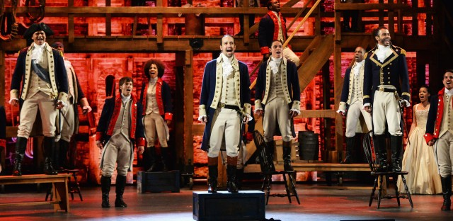 Christopher Jackson, Lin-Manuel Miranda, Anthony Ramos, Daveed Diggs, and the company of Hamilton perform onstage during the 70th Annual Tony Awards.