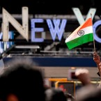 Members of the Indian-American community gather in Times Square to watch a live stream of Indian Prime Minister Narendra Modi