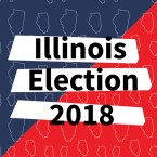 An red and blue background with a pattern of the state of Illinois reading 'Illinois Election 2018'