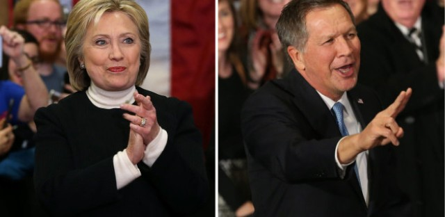 Democrat Hillary Clinton and Republican John Kasich were the second-place finishers in the New Hampshire primary.
