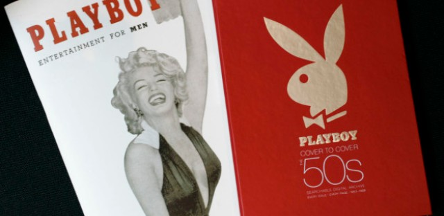 The first issue of Playboy magazine featuring Marilyn Monroe, left, and a boxed DVD set of Playboy magazines from the 1950s are shown in New York on Monday, July 16, 2007.