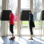 Ohio voters at the polls in Cincinnati for the state's primary on March 15.