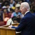 Former Vice President Joe Biden attends services Sunday at the Royal Missionary Baptist Church in North Charleston, S.C.