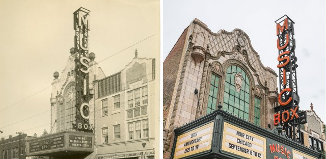 On the left: the Music Box Theatre in 1929, the year it opened. On the right: the same theater, 90 years later.