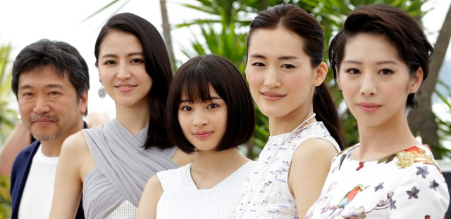 From left, director Hirokazu Kore-eda, Masami Nagasawa, Suzu Hirose, Haruka Ayase, and Kaho pose for photographers during a photo call for the film Our Little Sister, at the 68th international film festival, Cannes, southern France, Thursday, May 14, 2015.
