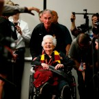 Loyola's Sister Jean Dolores Schmidt arrives at a news conference in San Antonio for the Final Four NCAA college basketball tournament on March 30, 2018. (AP Photo/Brynn Anderson)