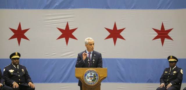 Chicago Mayor Rahm Emanuel delivers his new public safety plan to combat gun violence for the nation's third-largest city at the Malcolm X Community College on Thursday, Sept. 22, 2016, in Chicago. (Charles Rex Arbogast/AP)