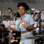 Jamila Woods performs a Tiny Desk Concert on Nov. 14, 2017 (Jennifer Kerrigan/NPR).