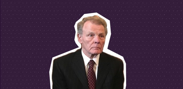 Illinois House Speaker Michael Madigan on Feb. 13, 2018, listening to the attorney for his political committee as she explains how she investigated sexual harassment complaints directed at Democratic Party campaign supervisor Kevin Quinn. (AP photo by John O'Connor/ WBEZ photo illustration by Paula Friedrich)