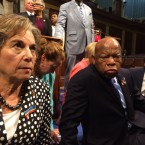 "Rep. Jan Schakowsky tweeted this photo during the Congressional sit-in, June 22, 2016. She tweeted, ""Occupying the House floor w/ @repjohnlewis & other @HouseDemocrats to demand a vote on gun safety. #NoBillNoBreak"""