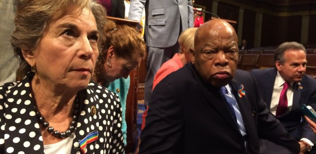 """Rep. Jan Schakowsky tweeted this photo during the Congressional sit-in, June 22, 2016. She tweeted, """"Occupying the House floor w/ @repjohnlewis & other @HouseDemocrats to demand a vote on gun safety. #NoBillNoBreak"""""""