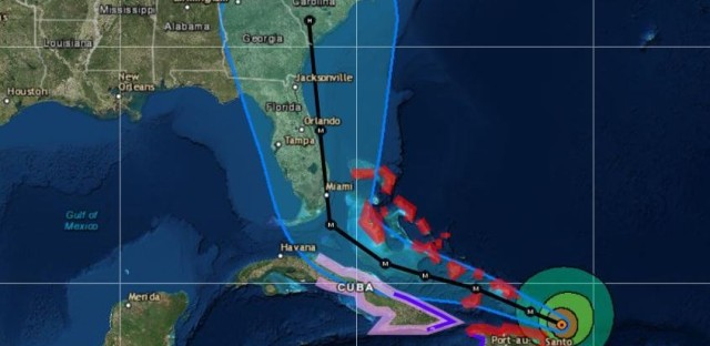 """Hurricane watches will likely be issued for portions of the Florida Keys and the Florida Peninsula later this morning,"" the National Hurricane Center says. Hurricane Irma's track forecast is seen as of 8 a.m."