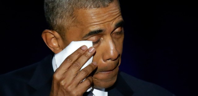 President Barack Obama wipes his tears as he gives his farewell speech at McCormick Place in Chicago on Tuesday.