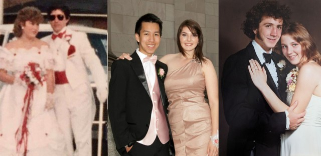 From left to right, WBEZ's Michael Puente, Simon Tran, and Beth Follenweider on their proms.