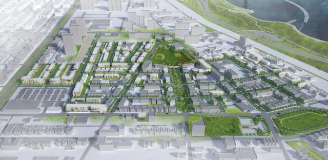 A conceptual drawing of Oakwood Shores, a mixed-income community in Bronzeville that was formerly the Ida B. Wells-Madden Park-Darrow Homes public housing development. (Courtesy of Gensler)