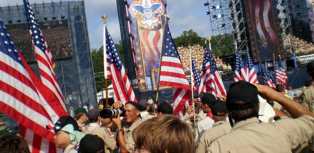 Boy Scouts gather at the 2010 National Scout Jamboree in Fort A.P. Hill, Virginia.  The group doesn't allow gay members currently, but is expected to vote Wednesday on the issue.