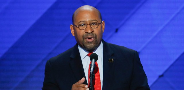 Former Philadelphia Mayor Michael Nutter speaks during the final day of the Democratic National Convention in Philadelphia , Thursday, July 28, 2016.