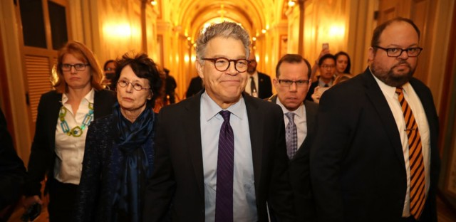 """Sen. Al Franken, D-Minn., and his wife Franni Bryson (left) arrive at the U.S. Capitol on Thursday. Franken announced on the Senate floor that he would be resigning """"in the coming weeks."""""""